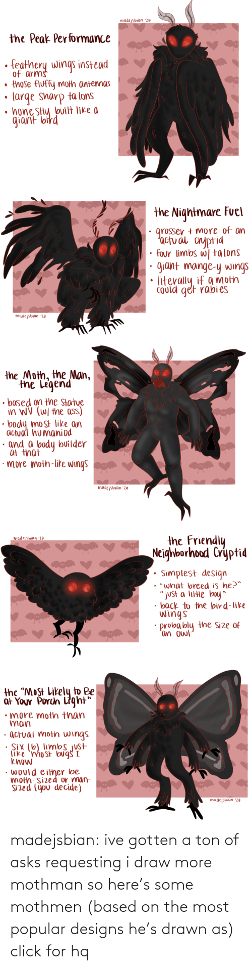 "ton: madejsbian '20  the Peak Performance  feathery wings instead  of arms  • those Auffy moth antennas  large sharp ta lons  • hone SHy bvilt like a  giant bird   the Nightmare Fuel  grosser + more of an  'actual cnyptid  four limbs w| talons  giant mange-y wings  Could get rabi es  madejsbian '20   the Moth, the Man,  the Legend  • based on the Statue  in WV (W/ the ass)  body most like an  actual humaniod  · and a body builder  at that  ·more moth-like wings  madejsbian '20   the Friendly  Neighborhood Cryptid  madejsbian '20  Simplest design  • ""what breed is he?™  ""just a litte boy""  • back to the bird-like  wings  probably the Size of  'an owl   the ""Most Likely to Be  at Your Porch Light""  •more moth than  man  · actual moth wings  · Six (6) limbs just  like 'mo st bug I  know  • would either be  moth-sized or man-  Sized (you decide)  madejsbian '20 madejsbian: ive gotten a ton of asks requesting i draw more mothman so here's some mothmen (based on the most popular designs he's drawn as)