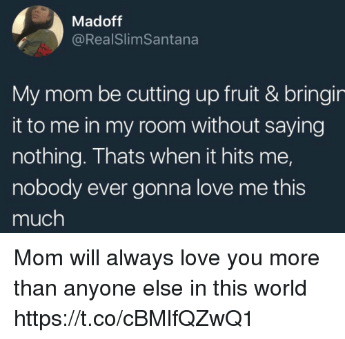 Love, World, and Girl Memes: Madoff  @RealSlimSantana  My mom be cutting up fruit & bringin  it to me in my room without saying  nothing. Thats when it hits me,  nobody ever gonna love me this  much Mom will always love you more than anyone else in this world https://t.co/cBMlfQZwQ1