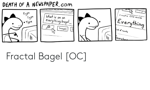 News, Death, and Images: /mages  DEATH OF A NEWS PAPER.com  1 result in O.02 seconds  Everything  Туре  Туре  . Туре  What is on an  everything bagel  End of resulte  Images  earchee Fractal Bagel [OC]