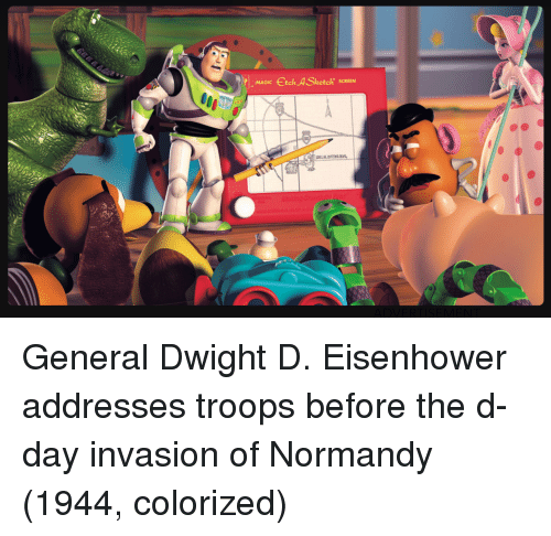 d-day: MAGIC tch A Sketch SCREEN General Dwight D. Eisenhower addresses troops before the d-day invasion of Normandy (1944, colorized)