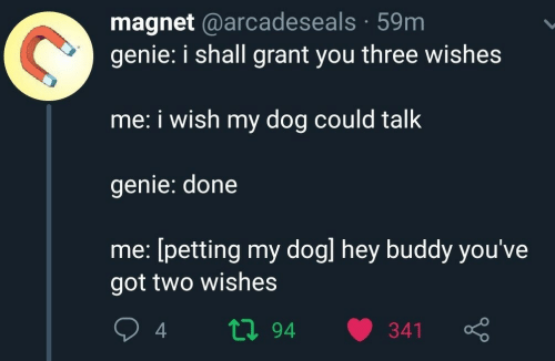 petting: magnet @arcadeseals 59m  genie: i shall grant you three wishes  me: i wish my dog could talk  genie: done  me: [petting my dogl hey buddy you've  got two wishes  ti94  341