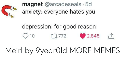 Good Reason: magnet @arcadeseals. 5d  anxiety: everyone hates you  depression: for good reason  10  L772  2,845 Meirl by 9year0ld MORE MEMES