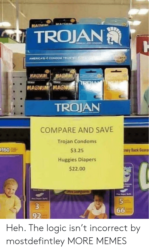 diapers: MAGNU  TROJAN  HELM LATEL CONDO  SAN  AMERICA'S1 CONDOM TRUSTED  MAGNUM  MAGNUM  TROIA  TIN  TMAW  MAGNUM MAGNUM  TROJAN  COMPARE AND SAVE  Trojan Condoms  $150  $3.25  ney Back Guarar  Huggies Diapers  $22.00  Oltra Leakguards  Saft  5  66  hisies  92 Heh. The logic isn't incorrect by mostdefintley MORE MEMES