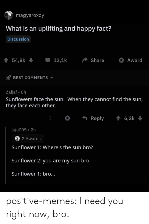 Memes, Target, and Tumblr: magyaroxcy  What is an uplifting and happy fact?  Discussion  54,8k  12,1k  Share  Award  BEST COMMENTS  Zafjaf 8h  Sunflowers face the sun. When they cannot find the sun,  they face each other.  6,2k  Reply  juju005 2h  S 2 Awards  Sunflower 1: Where's the sun bro?  Sunflower 2: you are my sun bro  Sunflower 1: bro... positive-memes: I need you right now, bro.