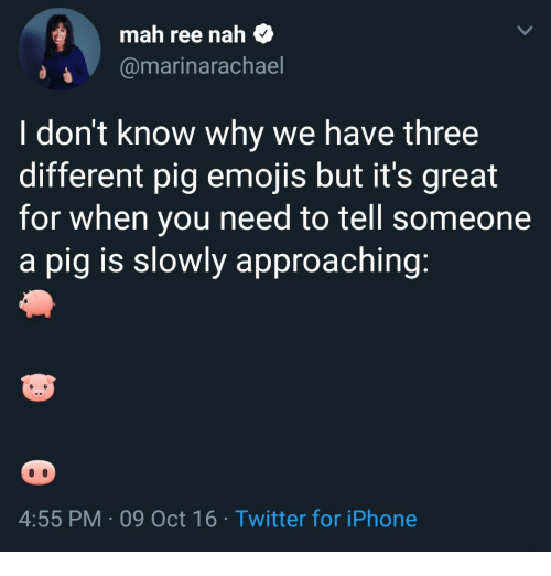 mah: mah ree nah $  @marinarachael  I don't know why we have three  different pig emojis but it's great  for when you need to tell someone  a pig is slowly approaching  4:55 PM 09 Oct 16 Twitter for iPhone