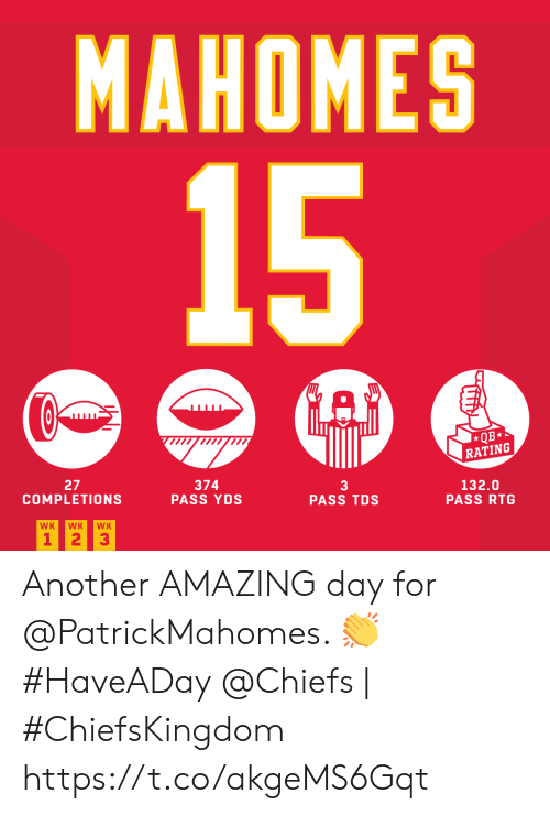 Rating: MAHOMES  15  QB*  RATING  27  COMPLETIONS  374  PASS YDS  3  PASS TDS  132.0  PASS RTG  WK  WK  WK  1 23 Another AMAZING day for @PatrickMahomes. ? #HaveADay   @Chiefs | #ChiefsKingdom https://t.co/akgeMS6Gqt