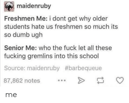 freshmen: maidenruby  Freshmen Me: i dont get why older  students hate us freshmen so much its  so dumb ugh  Senior Me: who the fuck let all these  fucking gremlins into this school  Source: maidenruby #barbequeue  87,862 notes. me