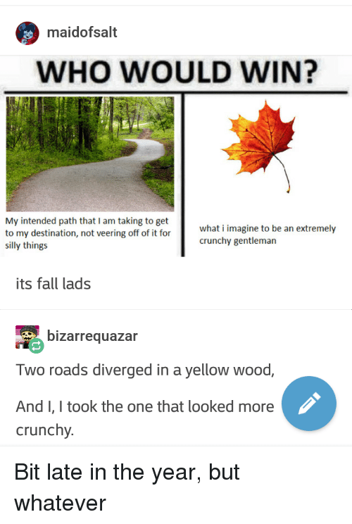Its Fall: maidofsalt  WHO WOULD WIN?  My intended path that I am taking to get  to my destination, not veering off of it for  silly things  what i imagine to be an extremely  crunchy gentleman  its fall lads  bizarrequazar  Two roads diverged in a yellow wood,  AndI, I took the one that looked more  crunchy. Bit late in the year, but whatever
