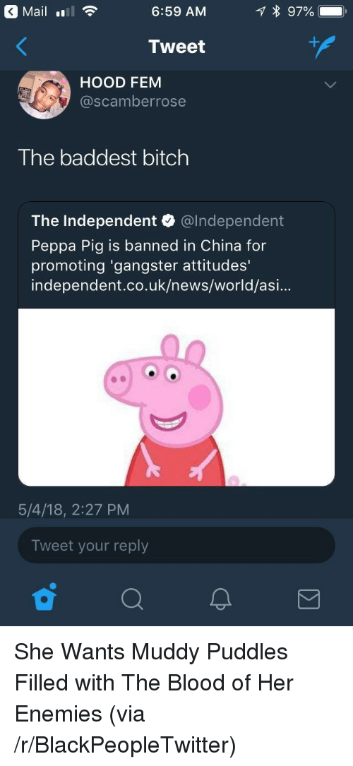 Bitch, Blackpeopletwitter, and News: Maill  6:59 AM  Tweet  HOOD FEM  @scamberrose  The baddest bitch  The Independent @lndependent  Peppa Pig is banned in China for  promoting 'gangster attitudes'  independent.co.uk/news/world/asi...  5/4/18, 2:27 PM  Tweet your reply <p>She Wants Muddy Puddles Filled with The Blood of Her Enemies (via /r/BlackPeopleTwitter)</p>