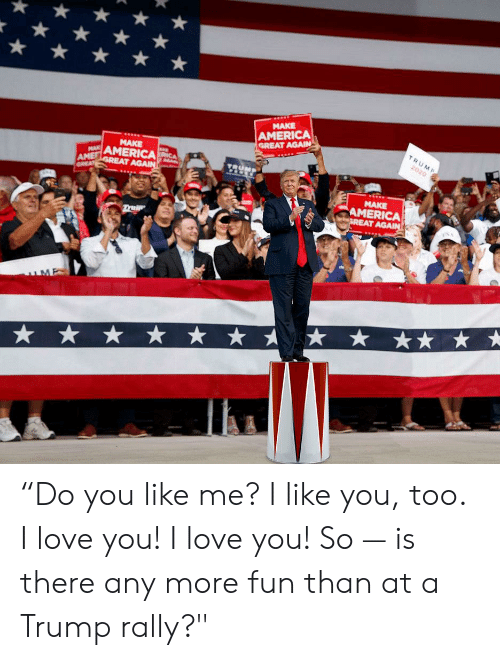 "America, Love, and I Love You: MAKE  AMERICA  GREAT AGAIN  TRUMP  MAKE  2020  AMERICACA  MA  AME  GREAT  TRUM  GREAT AGAIN  MAKE  AMERICA  GREAT AGAIN  ruIp  ME ""Do you like me? I like you, too. I love you! I love you! So — is there any more fun than at a Trump rally?"""