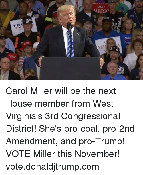 2nd Amendment: MAKE  T R  P E  rea Carol Miller will be the next House member from West Virginia's 3rd Congressional District! She's pro-coal, pro-2nd Amendment, and pro-Trump! VOTE Miller this November! vote.donaldjtrump.com