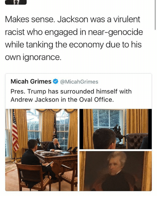 Memes, Andrew Jackson, and 🤖: Makes sense. Jackson was a virulent  racist who engaged in near-genocide  while tanking the economy due to his  own ignorance.  Micah Grimes.  @MicahGrimes  Pres. Trump has surrounded himself with  Andrew Jackson in the Oval Office.