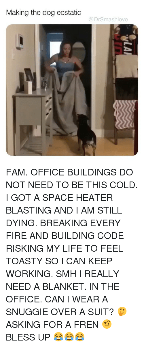 Toasty: Making the dog ecstatic  @DrSmashlove FAM. OFFICE BUILDINGS DO NOT NEED TO BE THIS COLD. I GOT A SPACE HEATER BLASTING AND I AM STILL DYING. BREAKING EVERY FIRE AND BUILDING CODE RISKING MY LIFE TO FEEL TOASTY SO I CAN KEEP WORKING. SMH I REALLY NEED A BLANKET. IN THE OFFICE. CAN I WEAR A SNUGGIE OVER A SUIT? 🤔 ASKING FOR A FREN 🤨 BLESS UP 😂😂😂