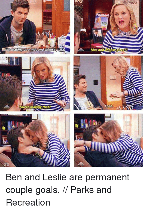 Parks and Recreation: making usa macand cheese pizza.  WINS  Mac and cheese pizar!  Yeah Ben and Leslie are permanent couple goals. // Parks and Recreation