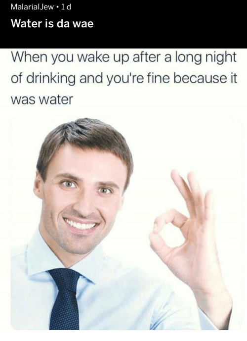 Drinking, Water, and Wake: MalarialJew 1 d  Water is da wae  When you wake up after a long night  of drinking and you're fine because it  was water