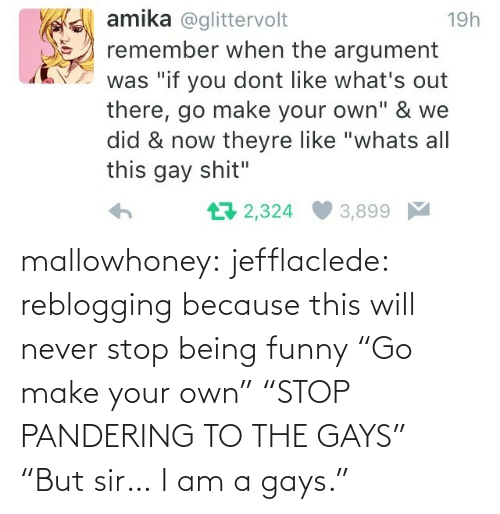 "sir: mallowhoney: jefflaclede:  reblogging because this will never stop being funny   ""Go make your own"" ""STOP PANDERING TO THE GAYS"" ""But sir… I am a gays."""