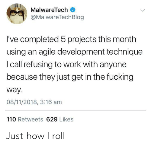 Andrew Bogut, Fucking, and Work: MalwareTech  @MalwareTechBlog  I've completed 5 projects this month  using an agile development technique  I call refusing to work with anyone  because they just get in the fucking  way.  08/11/2018, 3:16 am  110 Retweets 629 Likes Just how I roll