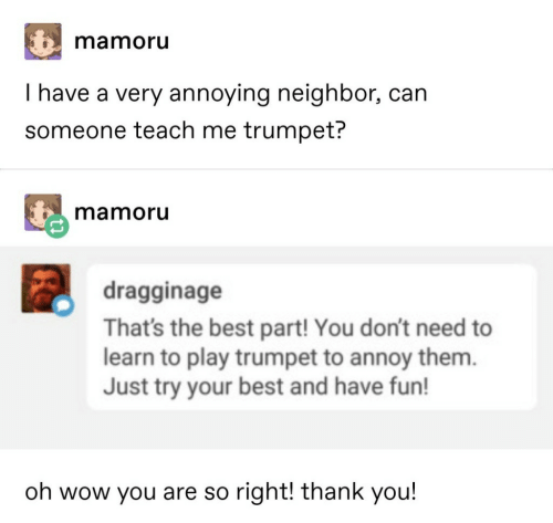 Wow, Thank You, and Best: mamoru  I have a very annoying neighbor, can  someone teach me trumpet?  mamoru  dragginage  That's the best part! You don't need to  learn to play trumpet to annoy them.  Just try your best and have fun!  oh wow you are so right! thank you!