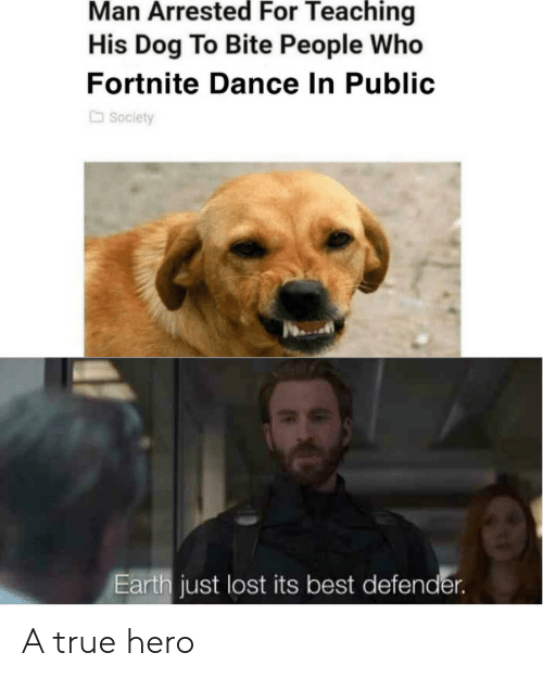 A True Hero: Man Arrested For Teaching  His Dog To Bite People Who  Fortnite Dance In Public  Society  Earth just lost its best defender. A true hero