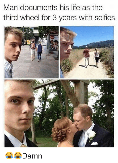 Third Wheels: Man documents his life as the  third wheel for 3 years with selfies 😂😂Damn