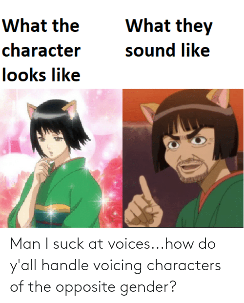 I Suck: Man I suck at voices...how do y'all handle voicing characters of the opposite gender?