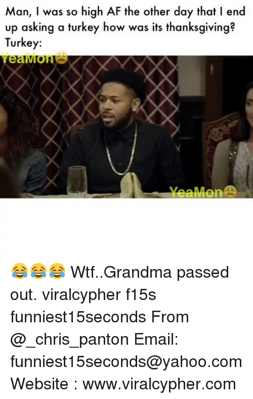 Af, Funny, and Grandma: Man, I was so high AF the other day that l end  up asking a turkey how was its thanksgiving  Turkey:  ea 😂😂😂 Wtf..Grandma passed out. viralcypher f15s funniest15seconds From @_chris_panton Email: funniest15seconds@yahoo.com Website : www.viralcypher.com