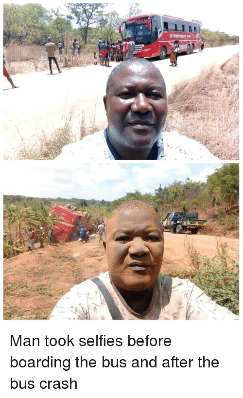 Crash, Bus, and Man: Man took selfies before boarding the bus and after the bus crash