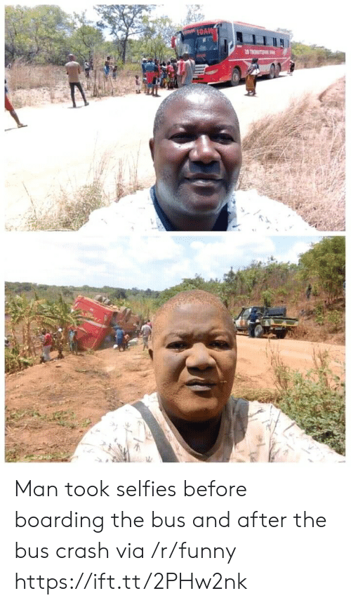 Funny, Crash, and Via: Man took selfies before boarding the bus and after the bus crash via /r/funny https://ift.tt/2PHw2nk