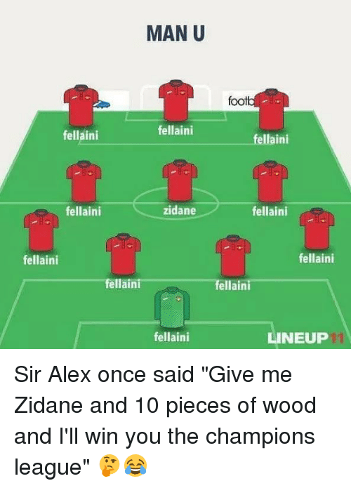 """Memes, Champions League, and 🤖: MAN U  foot  fellaini  fellaini  ellaini  fellaini  zidane  fellaini  fellaini  fellaini  fellaini  fellaini  fellaini  LINEUP Sir Alex once said """"Give me Zidane and 10 pieces of wood and I'll win you the champions league"""" 🤔😂"""