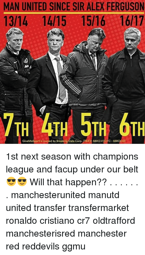 Alex Ferguson: MAN UNITED SINCE SIR ALEX FERGUSON  13/14 14/15 15/16 16/17  7TH 4TH 5TH OTH  GiveMeSport is owned by Breaking Data Corp. TSXV $BKDV)(OTC $BKDCD) 1st next season with champions league and facup under our belt😎😎 Will that happen?? . . . . . . . manchesterunited manutd united transfer transfermarket ronaldo cristiano cr7 oldtrafford manchesterisred manchester red reddevils ggmu