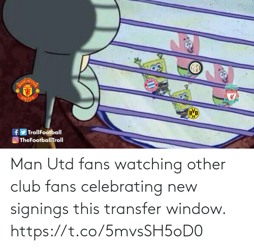 celebrating: Man Utd fans watching other club fans celebrating new signings this transfer window. https://t.co/5mvsSH5oD0