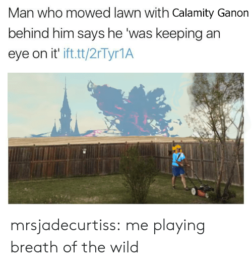 ganon: Man who mowed lawn with Calamity Ganon  behind him says he was keeping an  eye on it ifttt/2rTyr1A mrsjadecurtiss: me playing breath of the wild