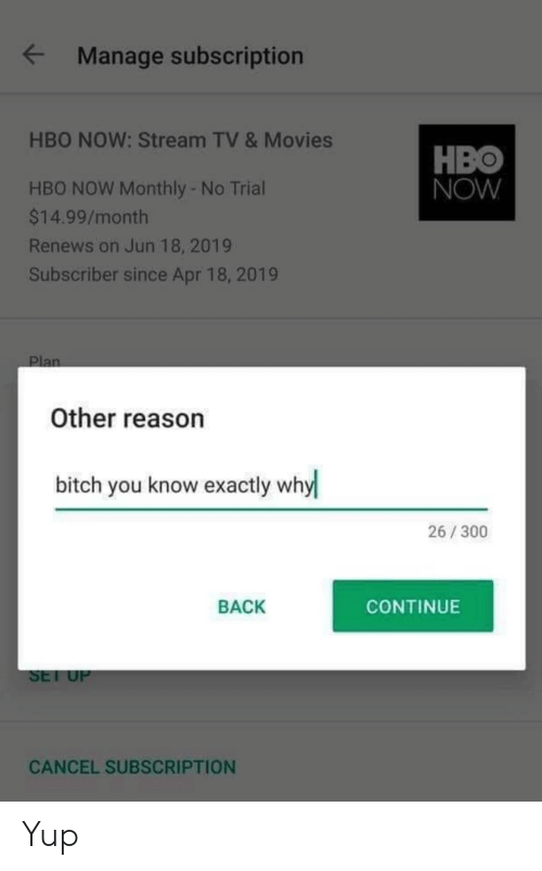 Bitch, Hbo, and Movies: Manage subscription  HBO NOW: Stream TV & Movies  HBO  NOW  HBO NOW Monthly - No Trial  $14.99/month  Renews on Jun 18, 2019  Subscriber since Apr 18, 2019  Other reason  bitch you know exactly why  26/300  BACK  CONTINUE  SEl U  CANCEL SUBSCRIPTION Yup