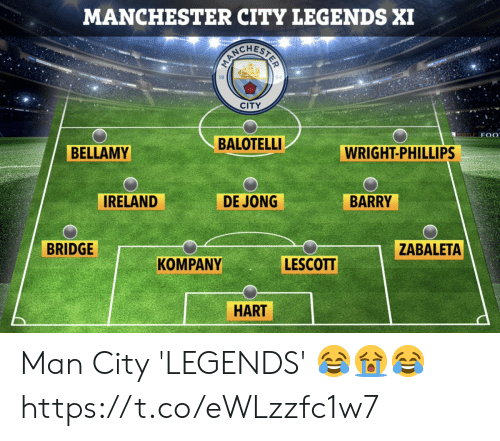 bridge: MANCHESTER CITY LEGENDS XI  CITY  MORTLE F 0  BALOTELLI  BELLAMY  WRIGHT-PHILLIPS  IRELAND  DE JONG  BARRY  BRIDGE  ZABALETA  LESCOTT  KOMPANY  HART Man City 'LEGENDS' 😂😭😂 https://t.co/eWLzzfc1w7
