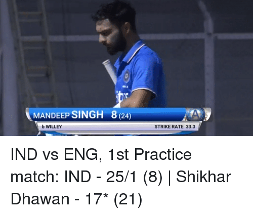 Ind Vs Eng: MANDEEP SINGH 8 (24  b WILLEY  STRIKE RATE 33.3 IND vs ENG, 1st Practice match:  IND - 25/1 (8)   Shikhar Dhawan - 17* (21)