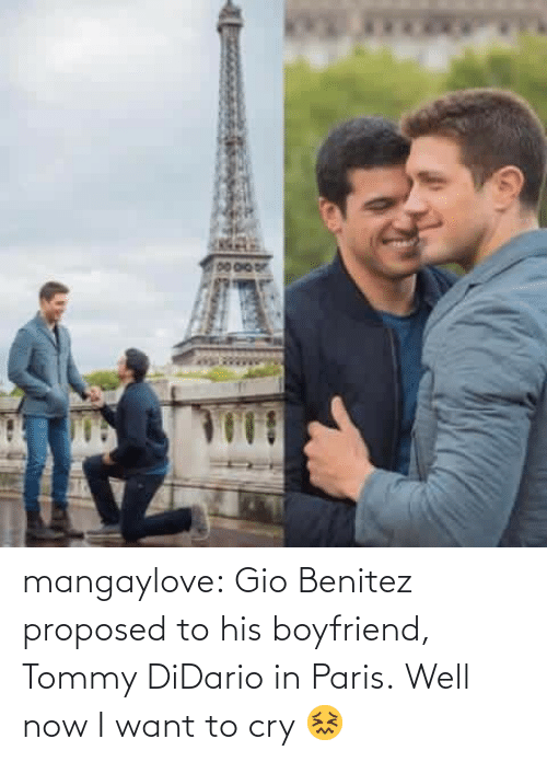 Benitez: mangaylove:  Gio Benitez proposed to his boyfriend, Tommy DiDario in Paris.   Well now I want to cry 😖