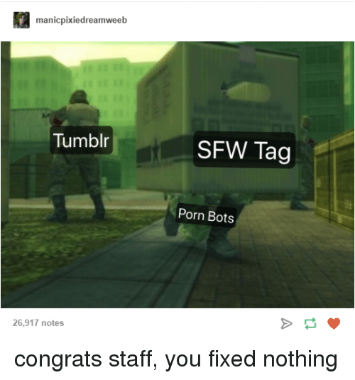 bots: manicpixiedreamweeb  Tumblr  SFW Tag  Porn Bots  26,917 notes congrats staff, you fixed nothing