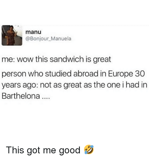 Ironic, Wow, and Europe: manu  @Bonjour_Manuela  me: wow this sandwich is great  person who studied abroad in Europe 30  years ago: not as great as the one i had in  Barthelona This got me good 🤣