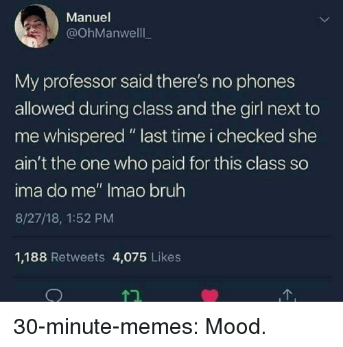 """Bruh, Memes, and Mood: Manuel  @OhManwelll  My professor said there's no phones  allowed during class and the girl next to  me whispered """" last time i checked she  ain't the one who paid for this class so  ima do me"""" Imao bruh  8/27/18, 1:52 PM  1,188 Retweets 4,075 Likes 30-minute-memes:  Mood."""