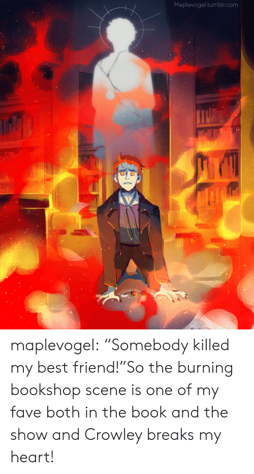 "Best Friend, Target, and Tumblr: Maplevogel.tumblr.com maplevogel:  ""Somebody killed my best friend!""So the burning bookshop scene is one of my fave both in the book and the show and Crowley breaks my heart!"