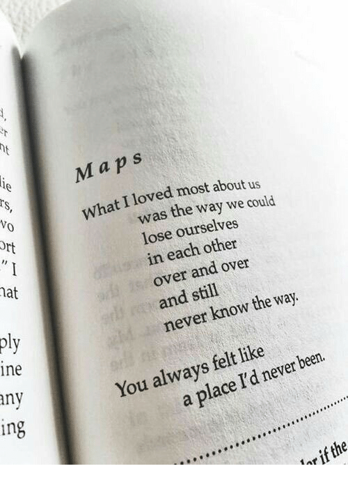 Maps, Never, and Been: Maps  What I loved most about us  was the way we could  lose ourselves  in each other  over and over  and still  never know the way  pl  ne  ny  You always felt like  in  a place I'd never been.  or if the