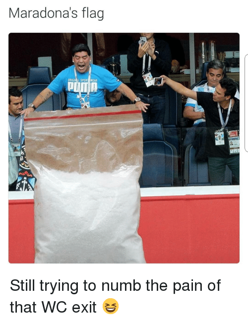 Soccer, Sports, and Pain: Maradona's flag  ORIGIM L SPOR WEAR Still trying to numb the pain of that WC exit 😆
