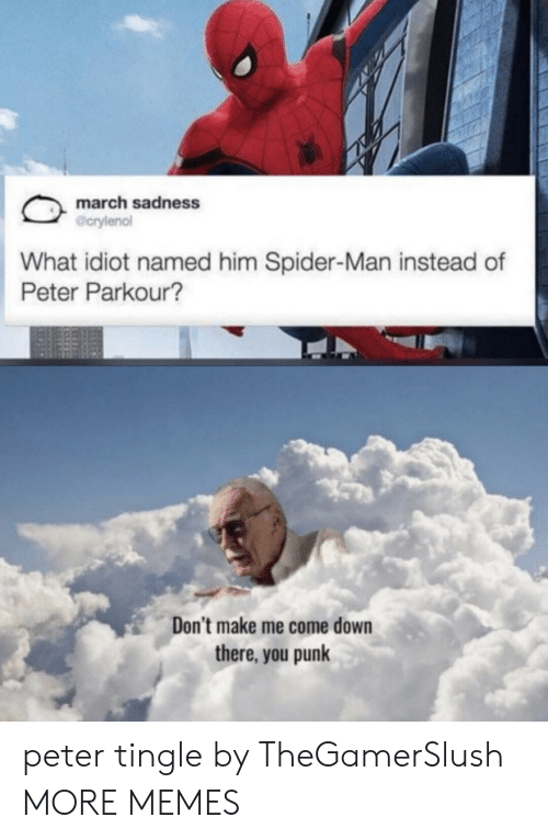 Me Come: march sadness  @crylenol  What idiot named him Spider-Man instead of  Peter Parkour?  Don't make me come down  there, you punk peter tingle by TheGamerSlush MORE MEMES
