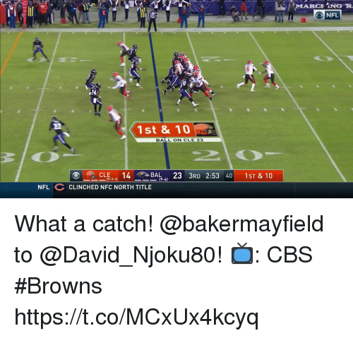Marching: MARCHİNG R  O NFL  1st & 10  BALL ON CLE 23  ーCLE7-11  14T-BAL-61  23  3RD 2:53 40 |  1st&10  NFL CLINCHED NFC NORTH TITLE What a catch!  @bakermayfield to @David_Njoku80!  📺: CBS #Browns https://t.co/MCxUx4kcyq