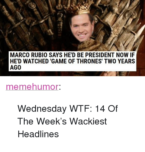 """President Now: MARCO RUBIO SAYS HE'D BE PRESIDENT NOW IF  HE'D WATCHED 'GAME OF THRONES' TWO YEARS  AGO <p><a href=""""http://memehumor.net/post/166089093066/wednesday-wtf-14-of-the-weeks-wackiest-headlines"""" class=""""tumblr_blog"""">memehumor</a>:</p>  <blockquote><p>Wednesday WTF: 14 Of The Week's Wackiest Headlines</p></blockquote>"""