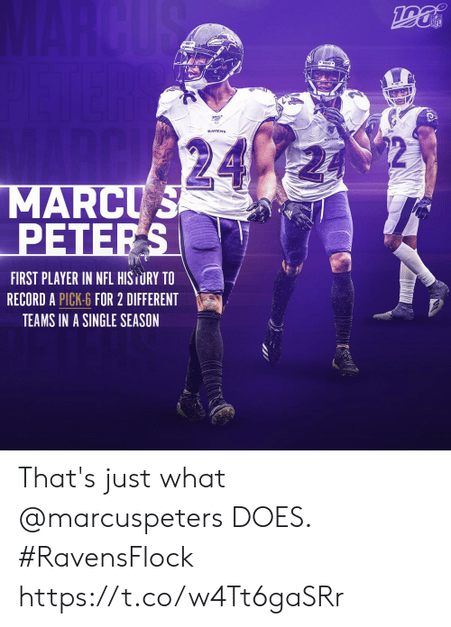Marcus: MARCUS  NFL  24  MARCUS  PETERS  FIRST PLAYER IN NFL HISTURY TO  RECORD A PICK-6 FOR 2 DIFFERENT  TEAMS IN A SINGLE SEASON That's just what @marcuspeters DOES.   #RavensFlock https://t.co/w4Tt6gaSRr