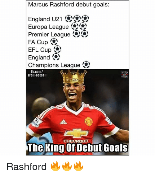 Få«: Marcus Rashford debut goals:  England U21  Premier League  Europa League  FA Cup -  EFL Cup ()  England。)  Champions League  Fb.com/  TrollFootball  CHEVROLET  The King Of Debut Goals Rashford 🔥🔥🔥