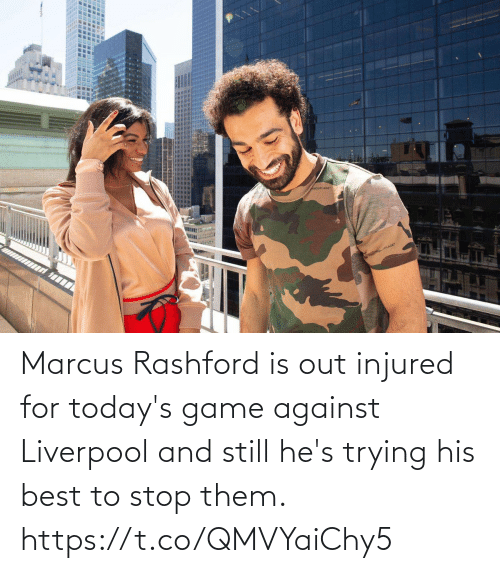 Against: Marcus Rashford is out injured for today's game against Liverpool and still he's trying his best to stop them. https://t.co/QMVYaiChy5