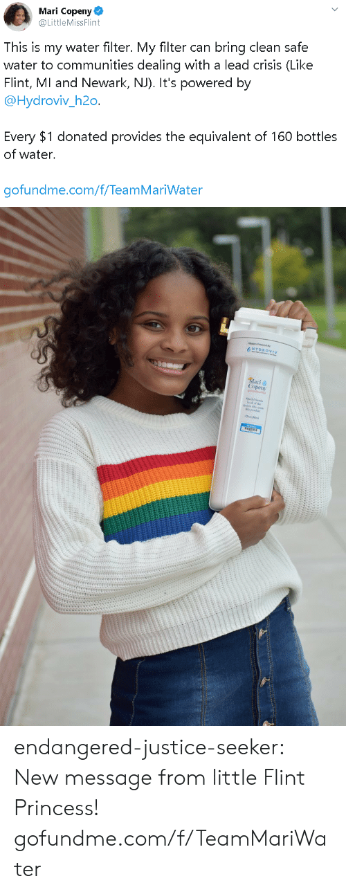 Gofundme: Mari Copeny  @LittleMissFlint  This is my water filter. My filter can bring clean safe  water to communities dealing with a lead crisis (Like  Flint, MI and Newark, NJ). It's powered by  @Hydroviv_h2o.  Every $1 donated provides the equivalent of 160 bottles  of water.  gofundme.com/f/TeamMariWater   HYDROVIV  Mari  Copeny endangered-justice-seeker:    New message from little Flint Princess!   gofundme.com/f/TeamMariWater