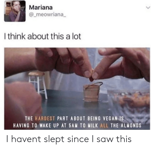 Mariana: Mariana  @_meowriana  Ithink about this a lot  THE HARDEST PART ABOUT BEING VEGAN IS..  HAVING TO WAKE UP AT 5AM TO MILK ALL THE ALMONDS I havent slept since I saw this